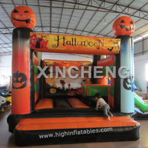 inflatable halloween Pumpkin theme bouncy with slide