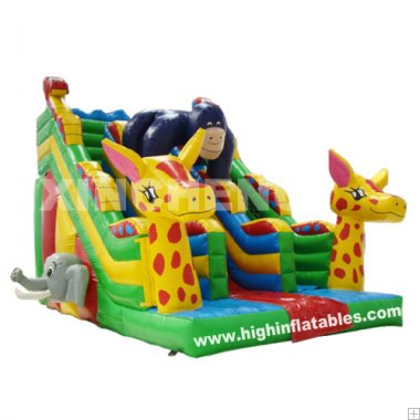 Inflatable savannah gorilla slide