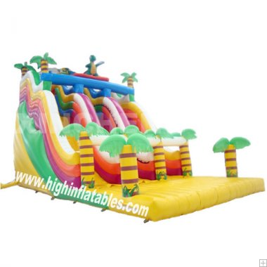 Inflatable jungle dinosaur high slide