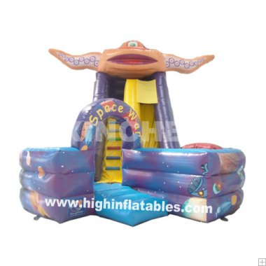 Inflatable space war slide