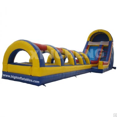 Inflatable water long slide