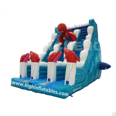 Inflatable octopus slide