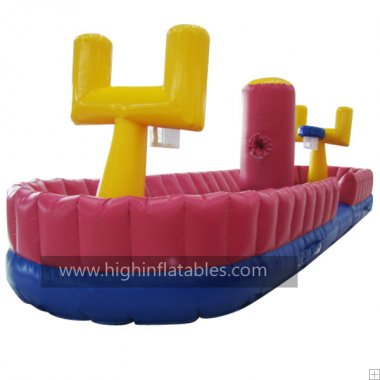 Inflatable basketball bungee run