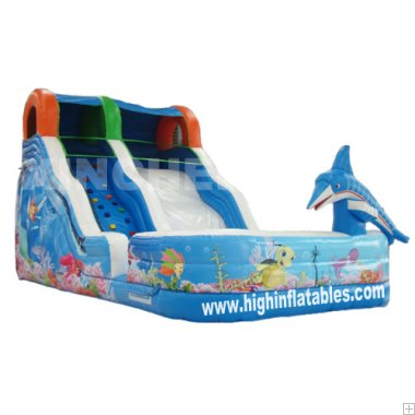 Inflatable high slide